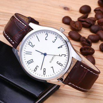 Faux Leather Analog Number Watch -  WHITE