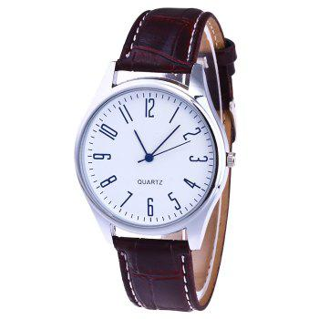 Faux Leather Analog Number Watch - WHITE WHITE