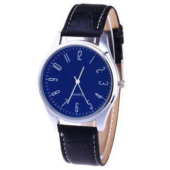 Faux Leather Analog Number Watch - BLUE BLUE