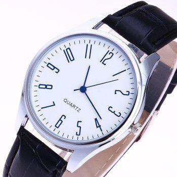 Faux Leather Analog Number Watch - BLUE