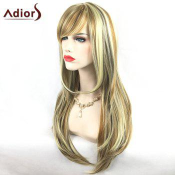 Adiors Long Slightly Curled Side Bang Party Synthetic Wig - COLORMIX