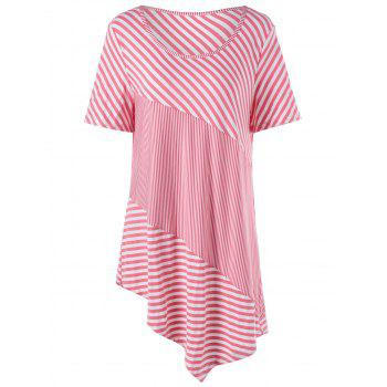 Stripe Plus Size Asymmetrical Tunic Top