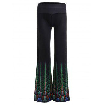 High Waist Wide Leg Print Pants