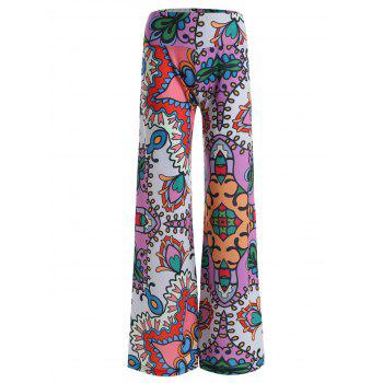 Allover Print High Rise Wide Leg Pants
