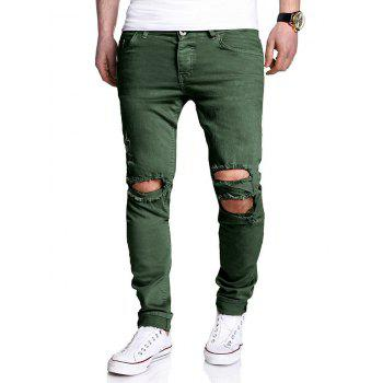 Zipper Fly Distressed Narrow Feet Pants