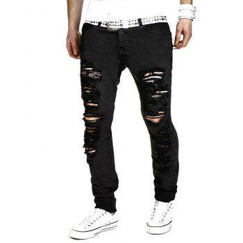 Zipper Fly Narrow Feet Holes Design Pants
