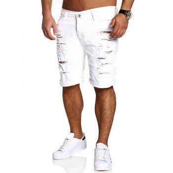 Straight Leg Zipper Fly Distressed Shorts