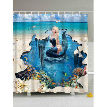 3D Mermaid Print Polyester Fabric Shower Curtain