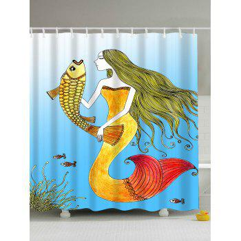 Sea Mermaid Waterproof Shower Curtain with Hooks
