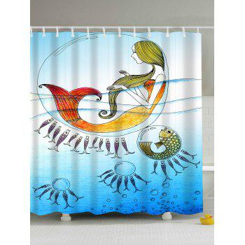 Cartoon Sea Mermaid Eco-Friendly Bath Shower Curtain