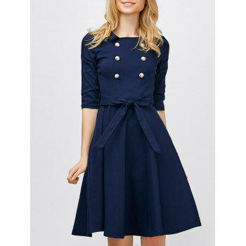 Double Breasted Belted Vintage Dress