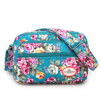 Colour Block Canvas Flower Printed Crossbody Bag