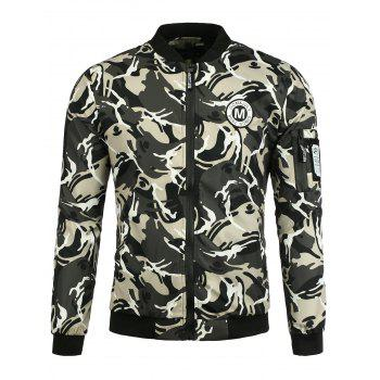 Zip Up Patch Design Camouflage Jacket