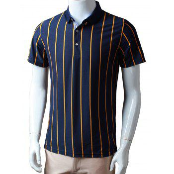 Half Buttoned Vertical Striped Polo Shirt