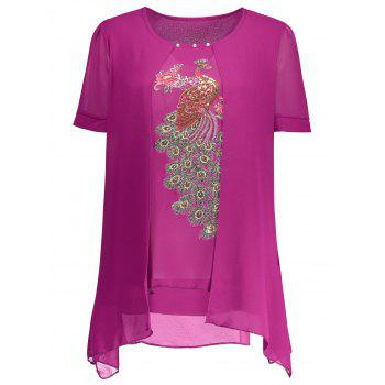 Embroidered Sequin Plus Size Top