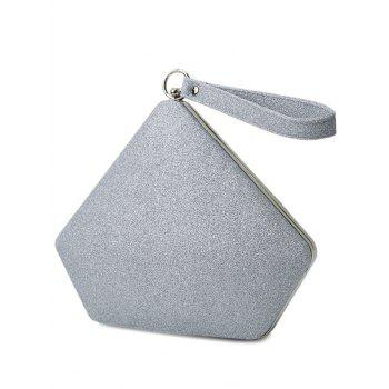 Glitter Sequin Geometric Evening Bag -  SILVER