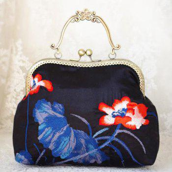 Kisslock Satin Embroidered Handbag