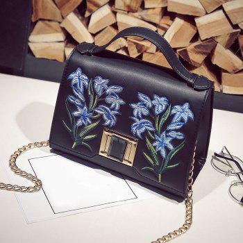 Floral Embroidery Handbag with Chains