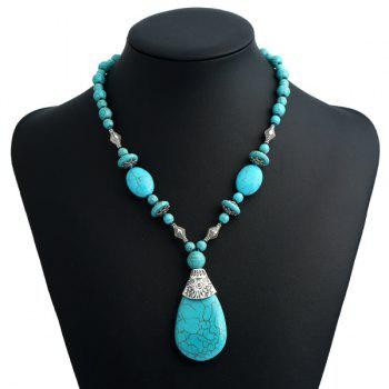 Fake Turquoise Tear Drop Bohemian Pendant Necklace