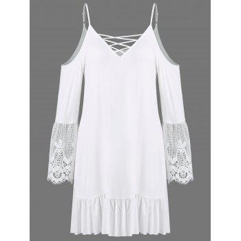 Dew Shoulder Crochet Trim Flounced Dress
