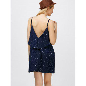 Ruffle Polka Dot Mini Slip Dress - DEEP BLUE L