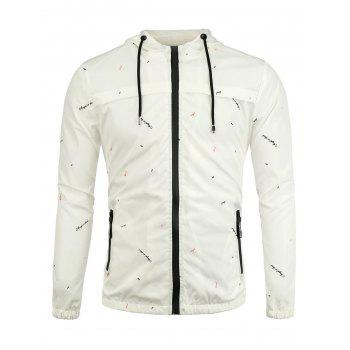 Zip Up Graphic Print Hooded Jacket - WHITE WHITE