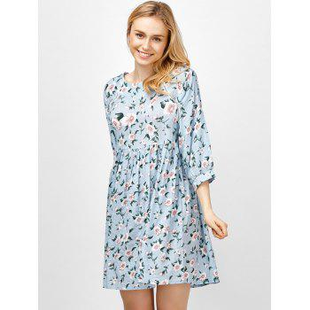 Floral Smock Going Out Swing Dress - BLUE 2XL
