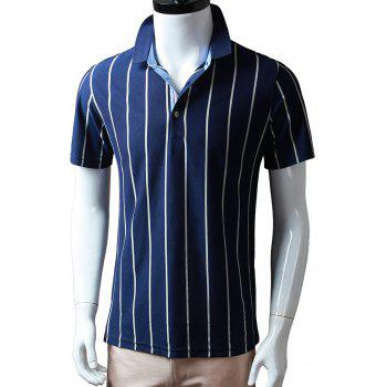 Half Buttoned Vertical Striped Polo Shirt - WHITE M
