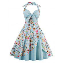 Halter Vintage Floral Print Pin Up Dress