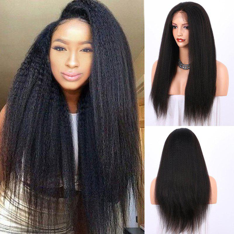 Synthetic Long Yaki Straight Lace Frontal Hair Wig - BLACK