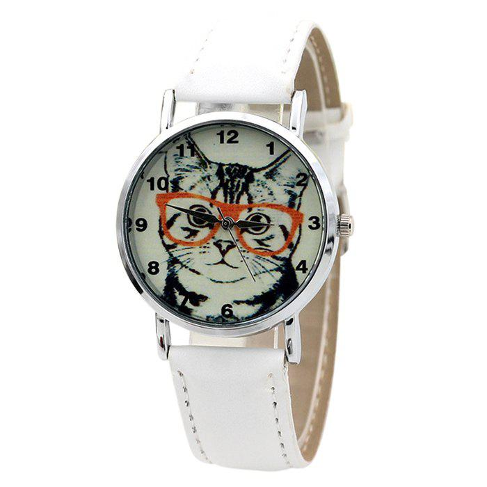 Cat In Glasses Analog Number Watch