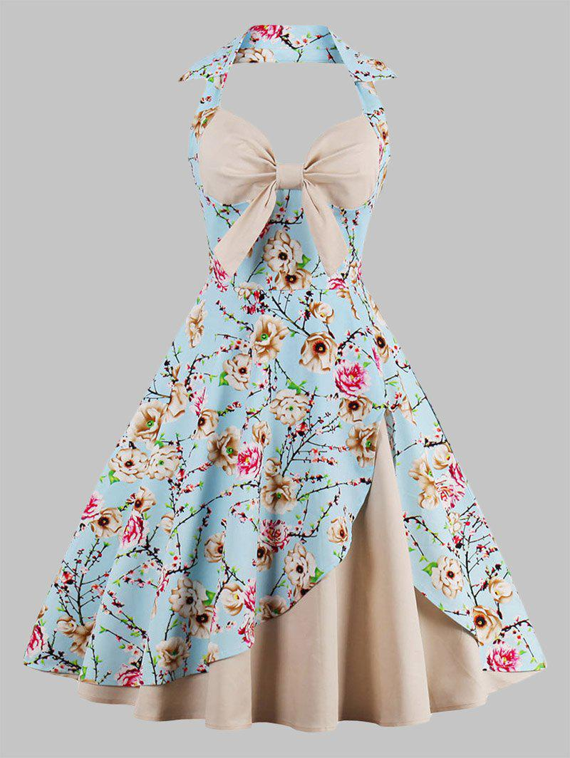 Plus Size Halter  Floral Print Vintage Pin Up Dress criss cross plus size floral retro pin up dress