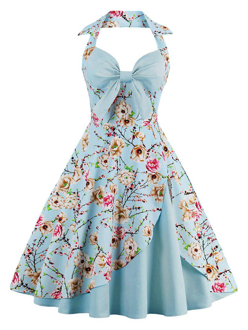 Halter Neck Floral Pin Up A Line Dress, CLOUDY, M in Vintage ...