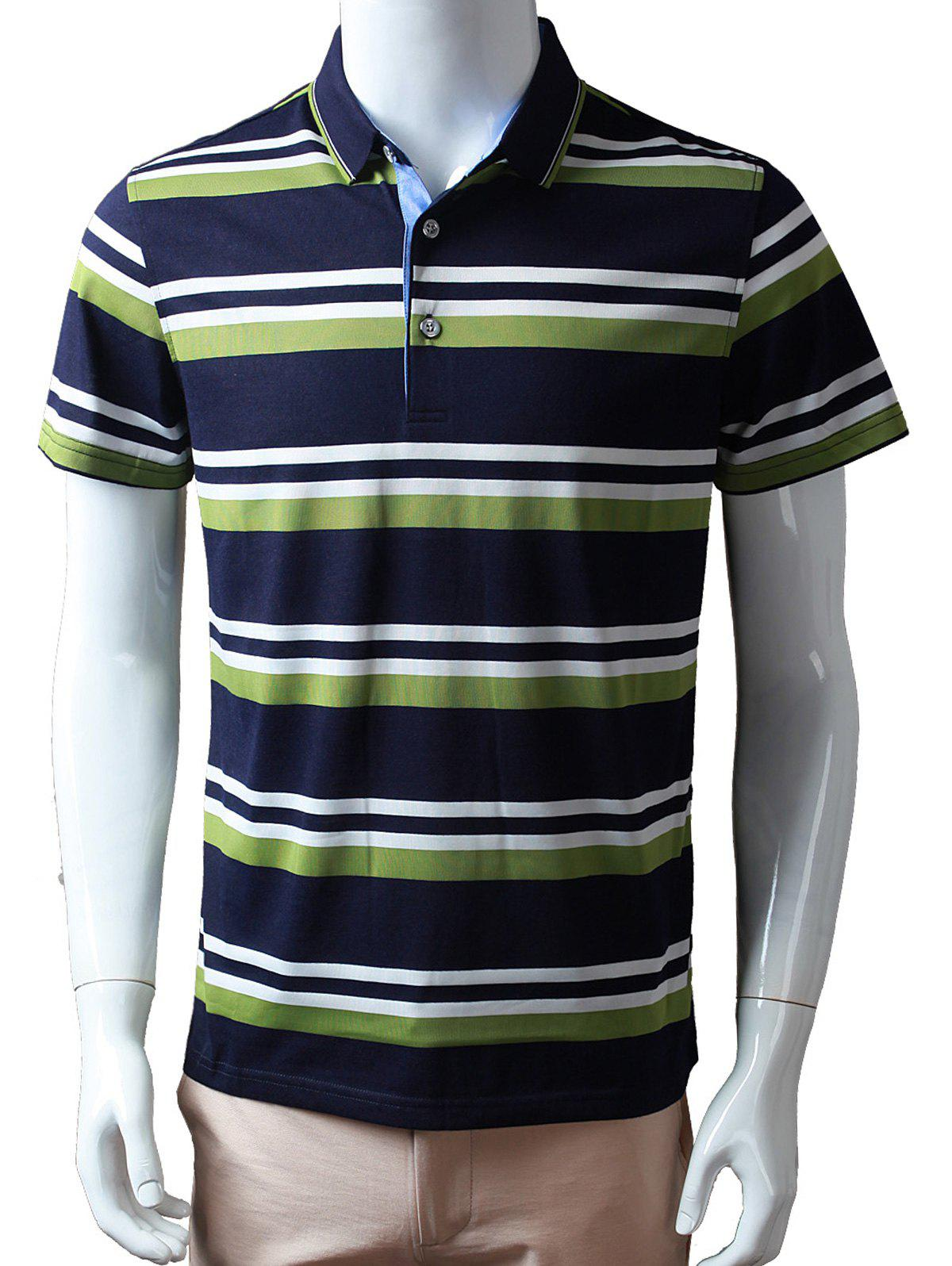 Half Buttoned Stripe Polo Shirt - GREEN 3XL