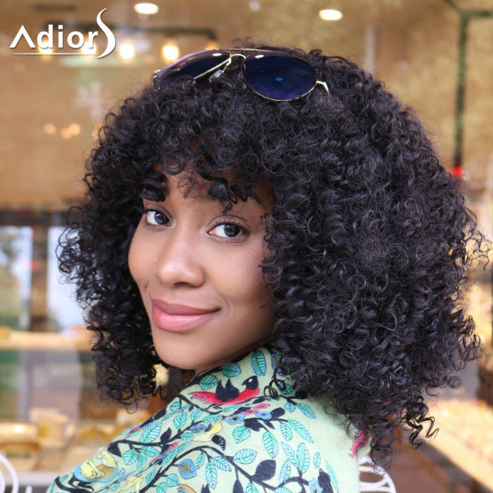 Adiors Medium Fluffy Afro Curly Full Bangs Synthetic Wig cute sexy cosplay wig full bangs curly