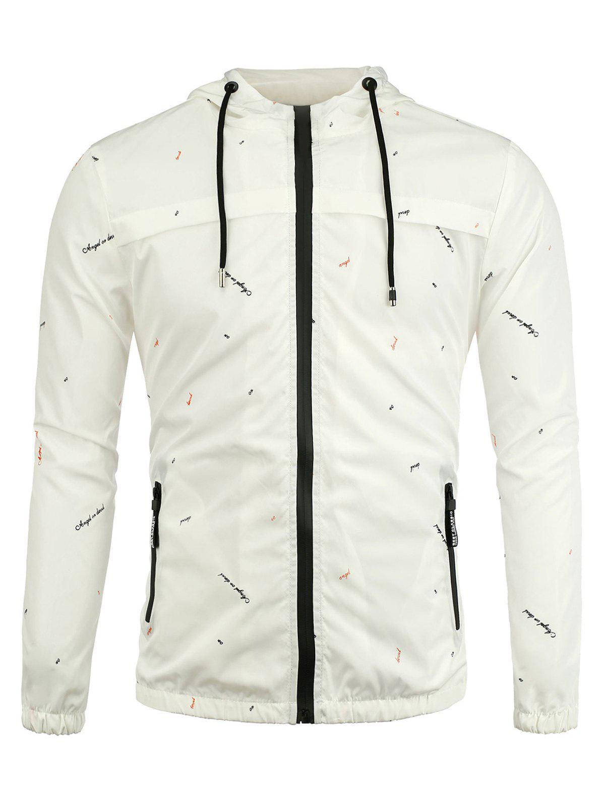 Zip Up Graphic Print Hooded Jacket - WHITE M