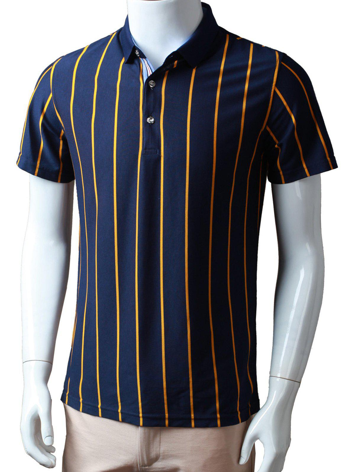 Half Buttoned Vertical Striped Polo Shirt - YELLOW XL