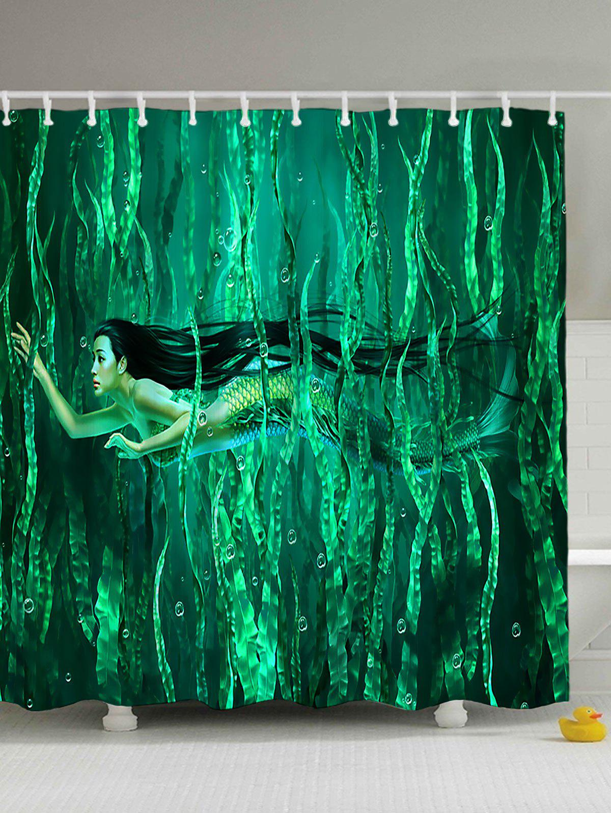 Seabed Mermaid Waterproof Shower Curtain sequins mermaid waterproof polyester shower curtain with hooks