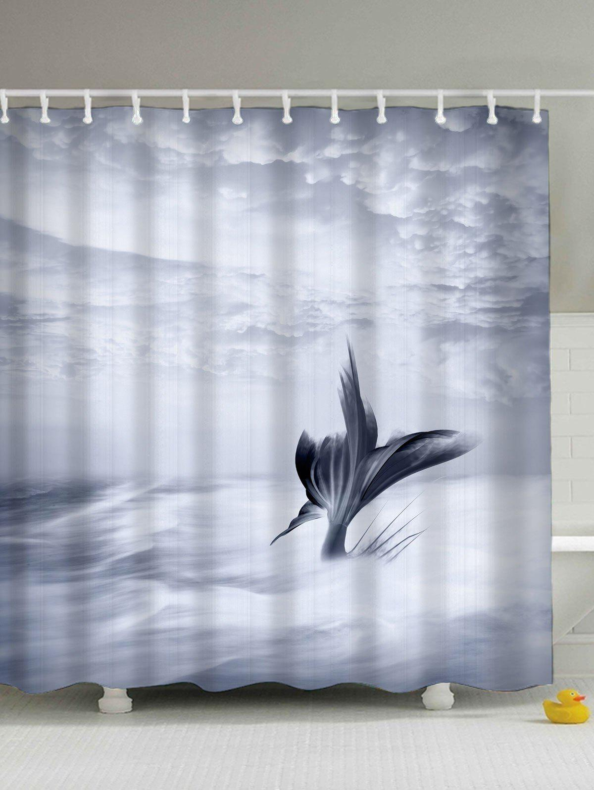 Fish Tail Eco-Friendly Water Resistant Shower Curtain flower butterfly mantis water resistant shower curtain