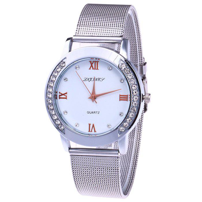 Steel Mesh Band Rhinestone Watch - SILVER