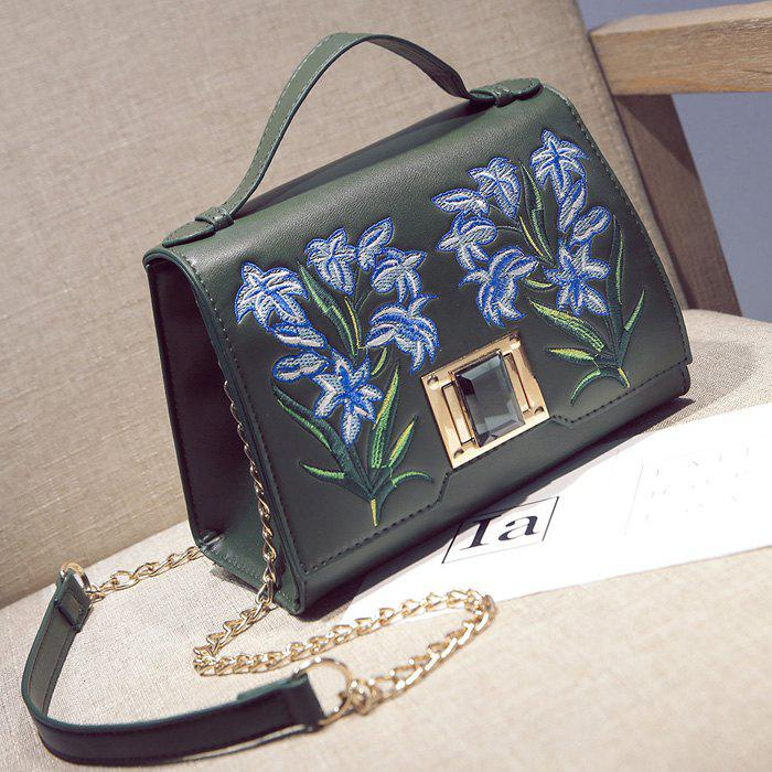 Floral Embroidery Handbag with Chains - GREEN