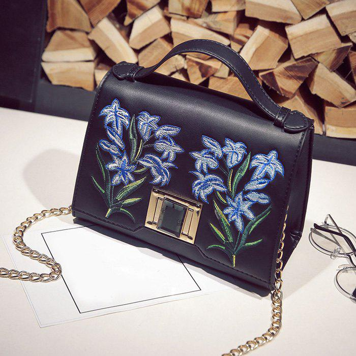 Floral Embroidery Handbag with Chains - BLACK