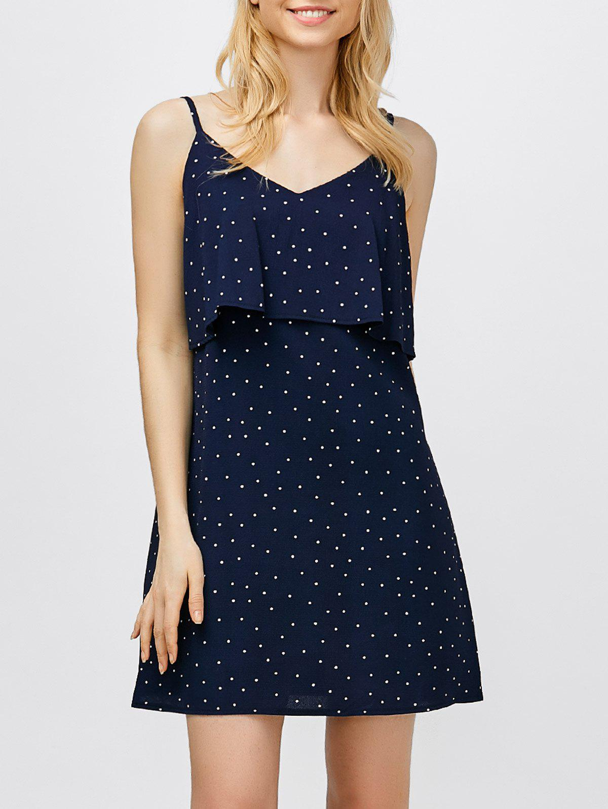 Ruffle Polka Dot Mini Slip Dress - DEEP BLUE S