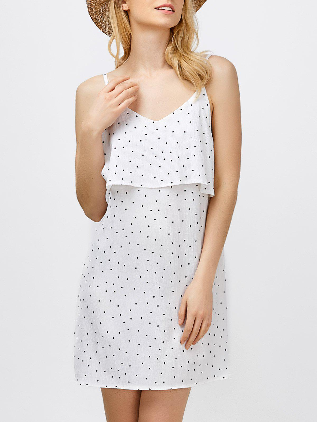 Ruffle Polka Dot Mini Slip Dress - Blanc S