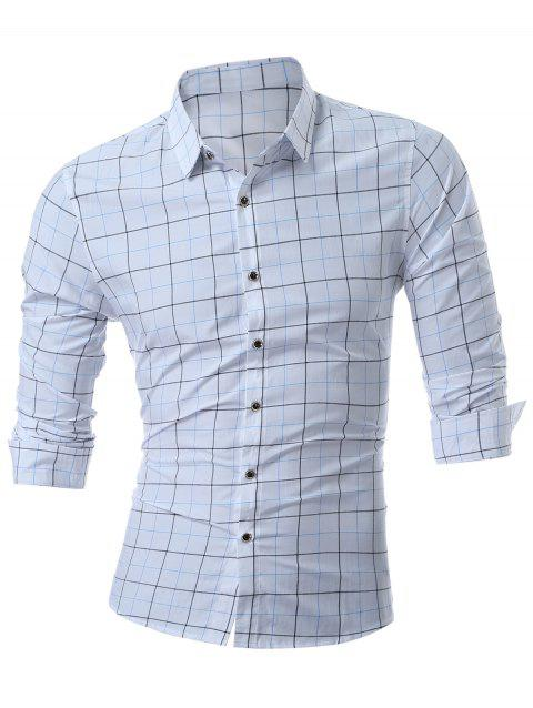 Long Sleeve Grid Shirt - BLUE 2XL