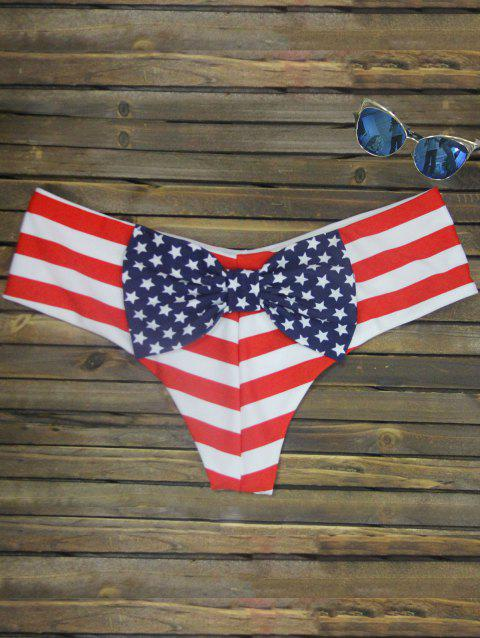 Bowknot Print Swim Briefs - STRIPE PATTERN RED COLOR XL