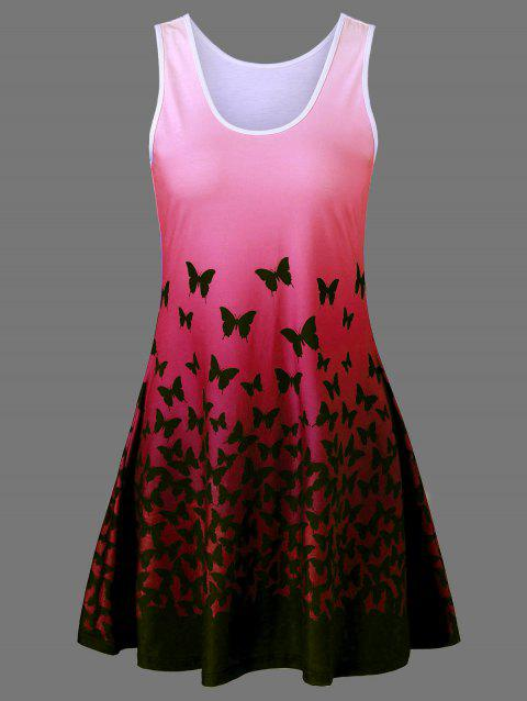 782114d328b 41% OFF  2019 Butterfly Print Ombre Plus Size Trapeze Dress In RED ...