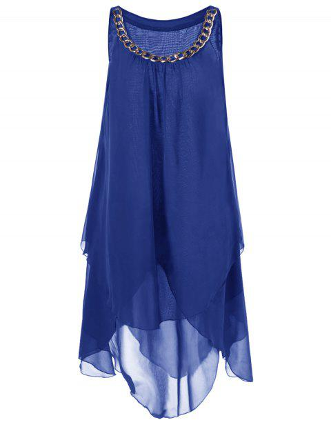 Plus Size Chains Detail Overlap Flowy Tent Dress - BLUE 4XL