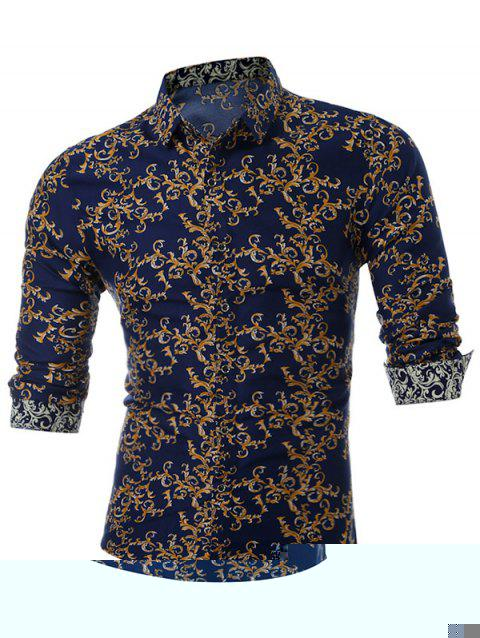 All Over Print Slim Fit Shirt - YELLOW L
