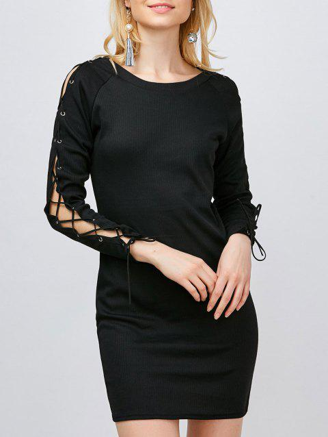 Short Lace Up Fitted Shirt Sweater Dress - BLACK XL